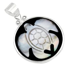 925 sterling silver 10.33cts natural pink cameo on shell turtle pendant c6219