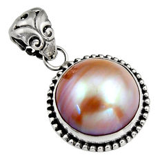 925 sterling silver 10.23cts natural pink pearl round pendant jewelry c6249