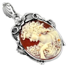 25.72cts victorian white lady cameo 925 sterling silver pendant jewelry c6834