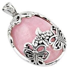 33.70cts natural pink rose quartz 925 sterling silver butterfly pendant c6841