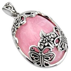 34.26cts natural pink rose quartz 925 sterling silver butterfly pendant c6845