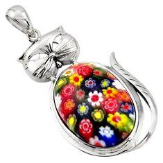31.72cts multi color italian murano glass 925 sterling silver cat pendant c6852