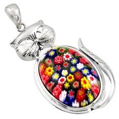 33.15cts multi color italian murano glass 925 sterling silver cat pendant c6853