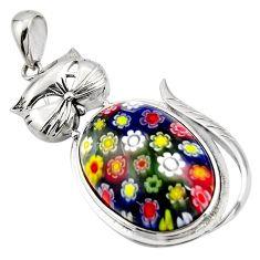 32.23cts multi color italian murano glass 925 sterling silver cat pendant c6855