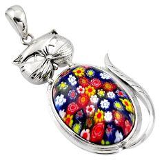 32.23cts multi color italian murano glass 925 sterling silver cat pendant c6857