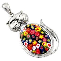 34.05cts multi color italian murano glass 925 sterling silver cat pendant c6859