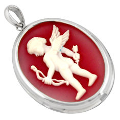 22.05cts white baby wing bow cameo 925 sterling silver pendant jewelry c6868