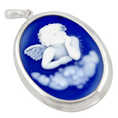 23.06cts white baby wing cameo 925 sterling silver pendant jewelry c6874