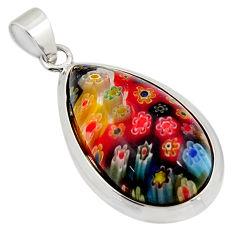 16.28cts multi color italian murano glass 925 sterling silver pendant c6901