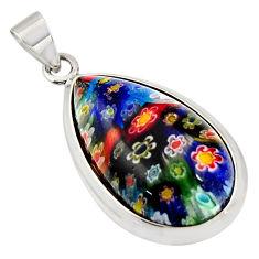 16.28cts multi color italian murano glass 925 sterling silver pendant c6904