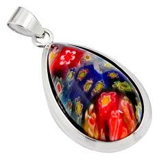 16.28cts multi color italian murano glass 925 sterling silver pendant c6907