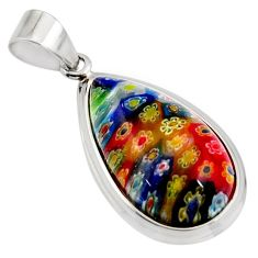 16.77cts multi color italian murano glass 925 sterling silver pendant c6908