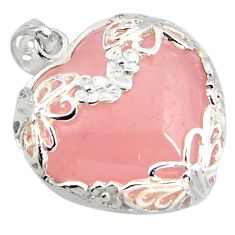 29.72cts natural pink rose quartz 925 sterling silver butterfly pendant c6914