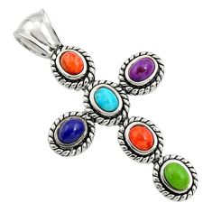 4.86cts southwestern multi color copper turquoise 925 silver cross pendant c7202
