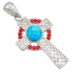 4.21cts blue arizona mohave turquoise coral 925 silver holy cross pendant c7206