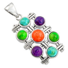 925 silver 5.12cts southwestern multi color copper turquoise round pendant c7217