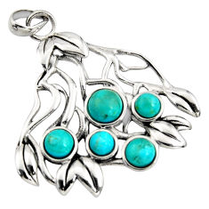 925 sterling silver 3.31cts blue arizona mohave turquoise pendant jewelry c7220