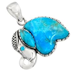 5.45cts southwestern blue arizona mohave turquoise silver elephant pendant c7224