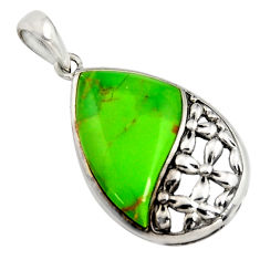 4.34cts southwestern green copper turquoise 925 sterling silver pendant c7228