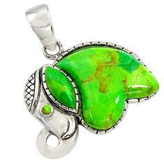 925 silver 6.39cts southwestern green copper turquoise elephant pendant c7229