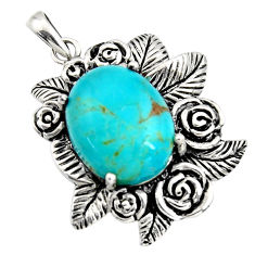 8.96cts southwestern blue arizona mohave turquoise 925 silver pendant c7234