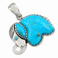 925 silver 6.39cts southwestern arizona mohave turquoise elephant pendant c7235