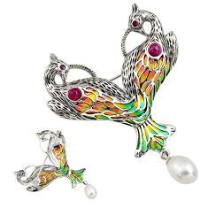 6.01cts natural white pearl garnet enamel 925 silver brooch pendant c7303