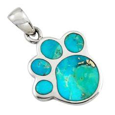 3.45gms green arizona mohave turquoise enamel 925 sterling silver pendant c7583