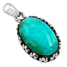 6.36cts green arizona mohave turquoise 925 sterling silver oval pendant c7586