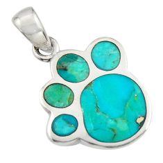 3.48gms green arizona mohave turquoise enamel 925 sterling silver pendant c7590