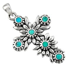 7.02gms green arizona mohave turquoise 925 silver holy cross pendant c7591