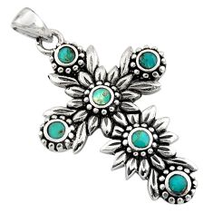6.68gms green arizona mohave turquoise 925 silver holy cross pendant c7595