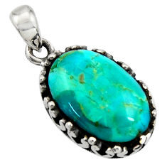 7.04cts green arizona mohave turquoise oval 925 sterling silver pendant c7597