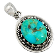 3.76cts green arizona mohave turquoise 925 sterling silver pendant jewelry c7600