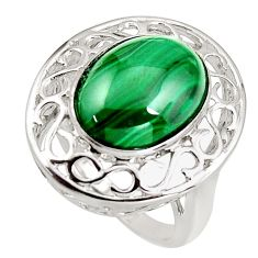 11.53cts natural green malachite (pilot's stone) 925 silver ring size 9 c5476