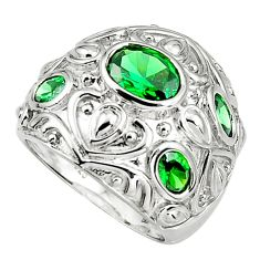 7.46cts green emerald (lab) 925 sterling silver ring jewelry size 9.5 c5511