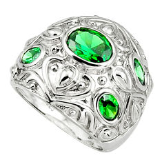 7.73cts green emerald (lab) 925 sterling silver ring jewelry size 8.5 c5512