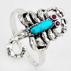 1.70cts southwestern copper turquoise silver scorpion charm ring size 9 c5706