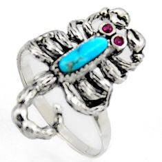 1.70cts southwestern black copper turquoise garnet 925 silver ring size 7 c5710