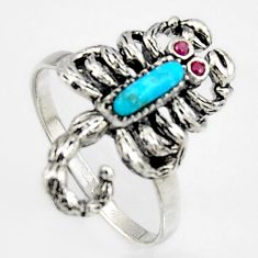 1.79cts southwestern copper turquoise silver scorpion charm ring size 8 c5715