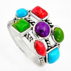 7.04cts southwestern multi color copper turquoise 925 silver ring size 6 c5726