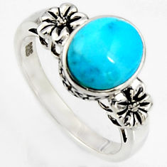 4.08cts southwestern blue copper turquoise 925 silver flower ring size 8 c5734