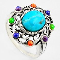 925 silver 5.27cts southwestern multi color copper turquoise ring size 7 c5738