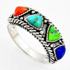 3.58cts southwestern multi color copper turquoise 925 silver ring size 9 c5740