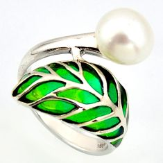 5.38cts natural white pearl enamel 925 sterling silver ring size 7.5 c5781