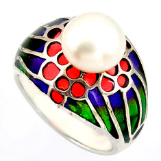 4.73cts natural white pearl enamel 925 sterling silver ring size 7.5 c5786