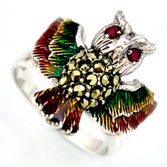 0.44cts natural red ruby marcasite enamel 925 silver owl ring size 8.5 c5796