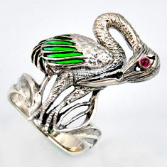 0.11cts natural red ruby enamel 925 silver flamingo ring jewelry size 6.5 c5797