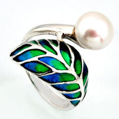 4.68cts natural white pearl enamel 925 sterling silver ring size 7.5 c5799
