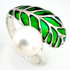 925 sterling silver 4.93cts natural white pearl enamel ring size 7.5 c5800